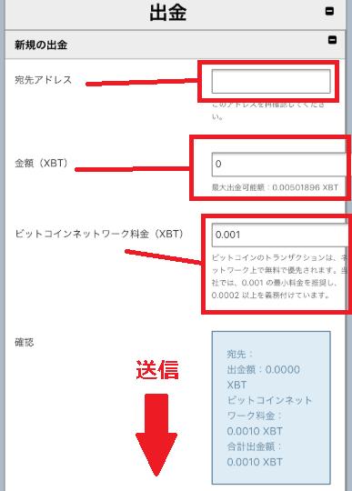 BitMEX出金ページ